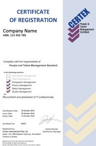 Example PTM Certificate